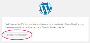 Ejecutar instalación de WordPress en local