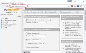 Gestión de bases de datos de MySQL con phpMyAdmin