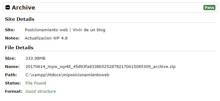 Paso 1 del instalador de Duplicator: archivo
