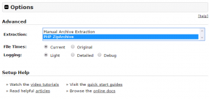 Paso 1 del instalador de Duplicator: opciones
