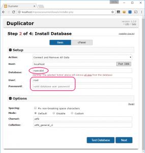 Paso 2 del instalador de Duplicator: base de datos