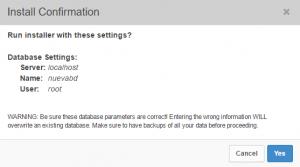 Paso 2 del instalador de Duplicator: confirmar instalación base de datos