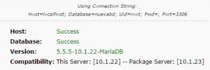 Paso 2 del instalador de Duplicator: resultado prueba de base de datos