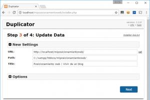 Paso 3 del instalador de Duplicator: actualización ajustes base de datos