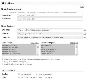Paso 3 del instalador de Duplicator: actualización opciones base de datos