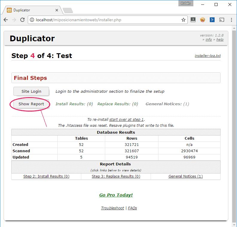 Paso 4 del instalador de Duplicator: comprobación de migración