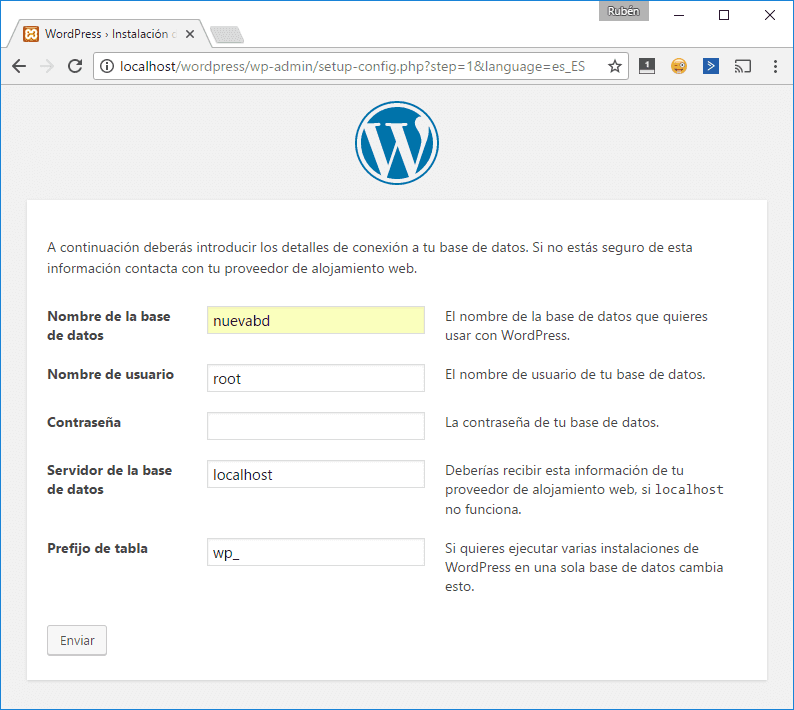 Instalación de WordPress en local: configuración de la base de datos