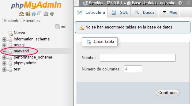 Nueva base de datos creada con phpMyAdmin