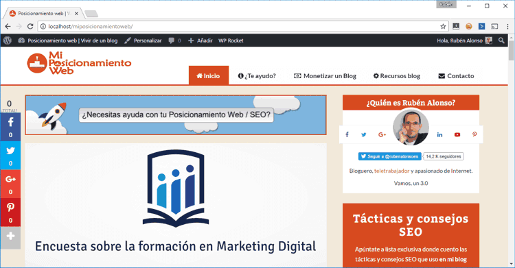 Prueba exitosa de WordPress clonado y migrado a local