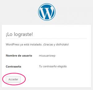 WordPress instalado correctamente