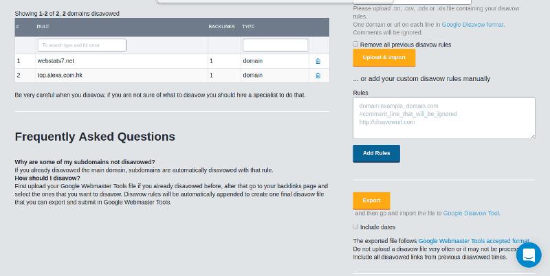 Crear fichero disavow en monitorbacklinks
