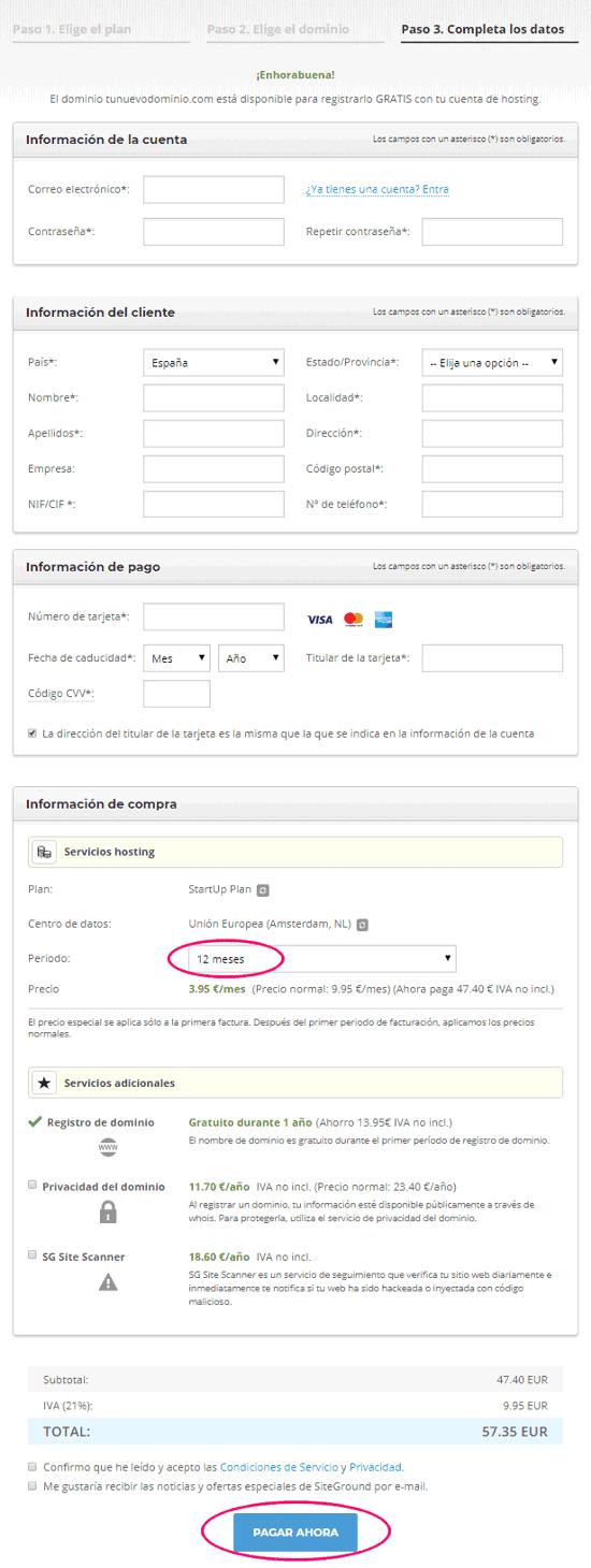 Cómo comprar un hosting paso 1