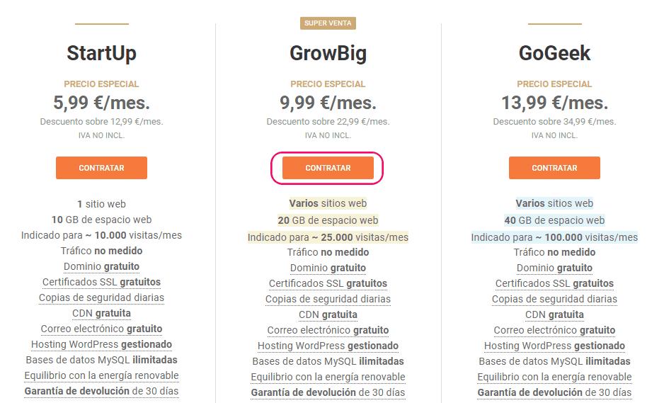 Comprar un hosting paso1