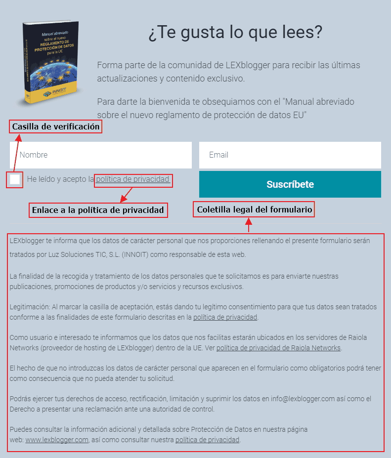 Ejemplo de formulario en LexBlogger adaptado al RGPD