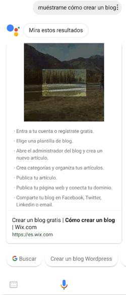 """Búsqueda por voz """"muéstrame cómo crear un blog"""""""