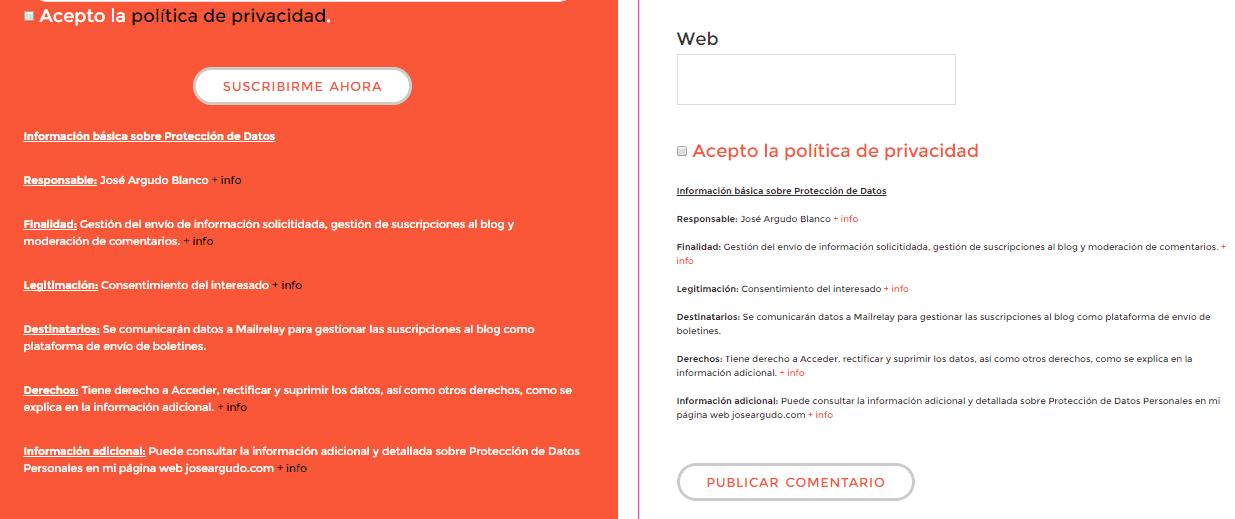 Ejemplo de formularios adaptados al RGPD en el blog de José Argudo