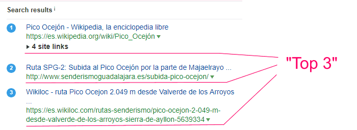 """Resultados de Ahrefs para """"cómo de alto es el Ocejon"""""""