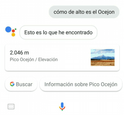 """Búsqueda por voz desde Irún """"cómo de alto es el Ocejon"""""""