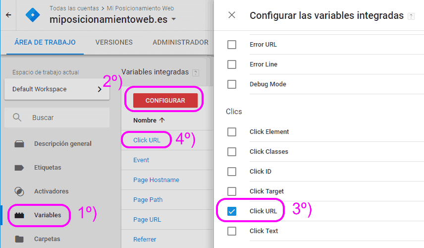 Activar la variable Click URL en Google Tag Manager