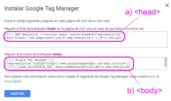 Código del contenedor AMP de Google Tag Manager