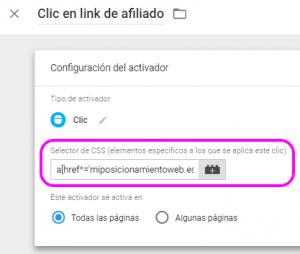 Configuración del activador de clic en enlace saliente de afiliado para AMP con selector CSS