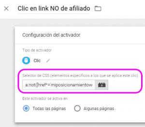 Configuración del activador de clic en enlace saliente NO de afiliado para AMP con selector CSS