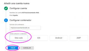 Configurar un contenedor nuevo en Google Tag Manager