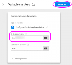 Configurar la variable de seguimiento de Google Analytics