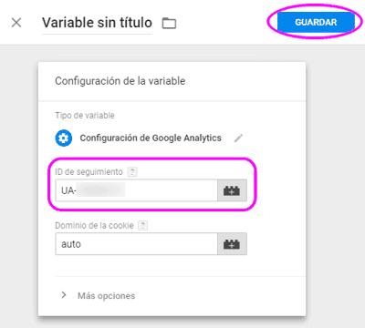 Configurar la variable de seguimiento de Google Analytics