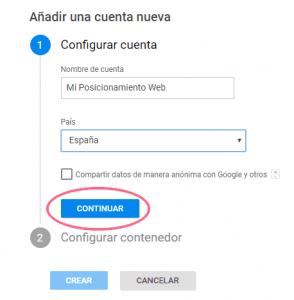 Crear una cuenta nueva en Google Tag Manager