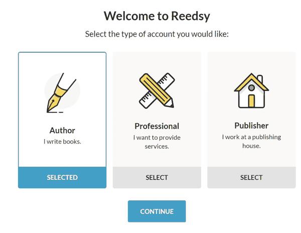 Elegir el tipo de cuenta en Reedsy