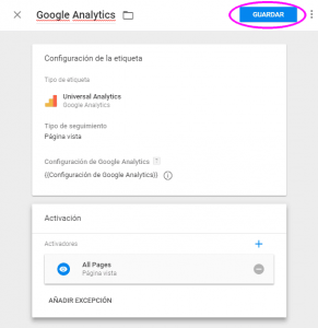 Guardar la etiqueta de Google Analytics en Google Tag Manager