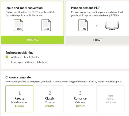 Más opciones para exportar el ebook en Reedsy