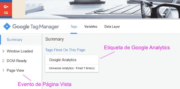 Panel de depuración en Vista Previa de Google Tag Manager