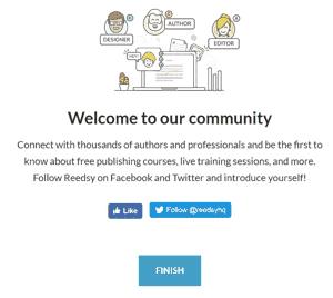Página de bienvenida de Reedsy