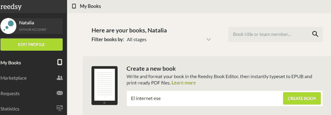 Pantalla para crear tus ebooks en Reedsy