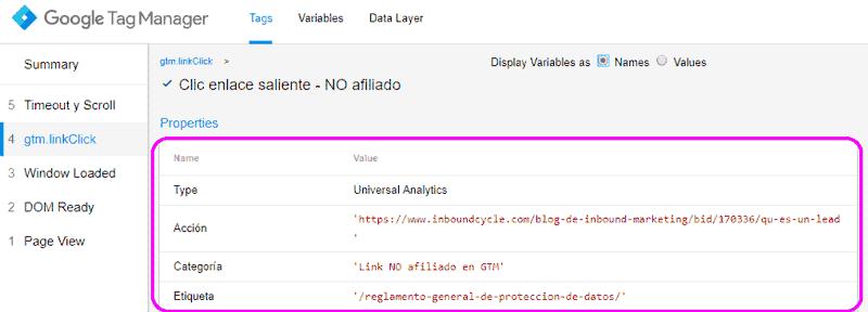 Vista previa de las propiedades de la etiqueta disparada con el clic en un enlace saliente