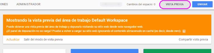 Vista previa del contenedor en Google Tag Manager