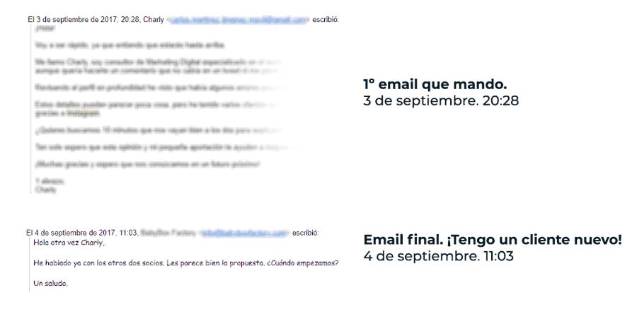 Emails que usé para conseguir clientes