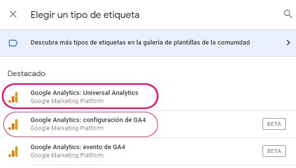 Elegir la etiqueta de Google Analytics