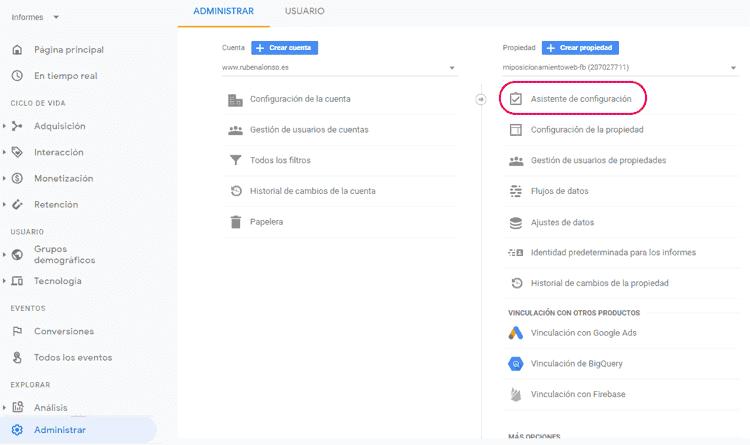 Propiedad en Google Analytics 4