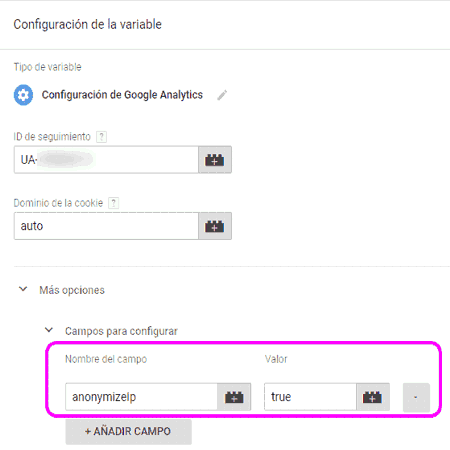 Recoger IPs anónimas para Google Analytics en Google Tag Manager