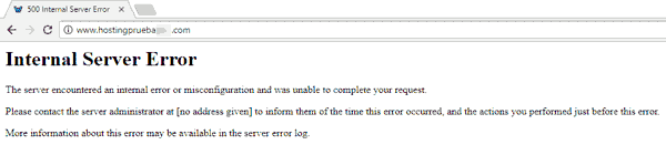 Error HTTP 500 para la prueba de soporte al cliente