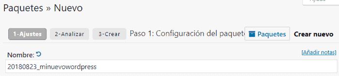 Nombre del nuevo paquete local en Duplicator