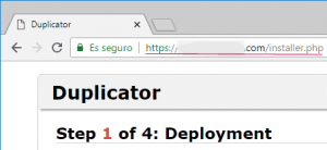 Primer paso del instalador de WordPress en remoto con Duplicator