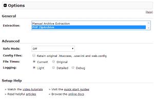 Paso 1 del instalador de WordPress en remoto con Duplicator: opciones