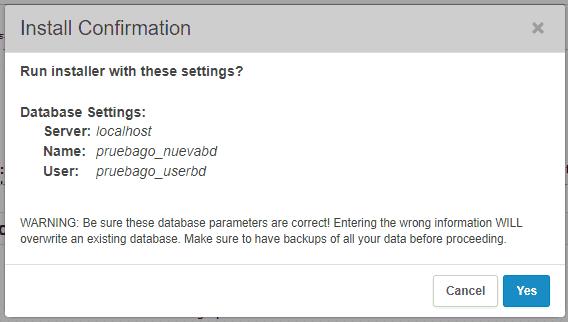 Segundo paso del instalador de WordPress en remoto con Duplicator: confirmar instalación