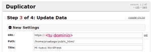 Tercer paso del instalador de WordPress en remoto con Duplicator: actualizar rutas y URLs