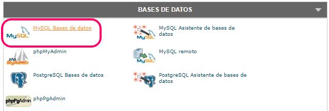 Entrar a MySQL Bases de datos del cPanel