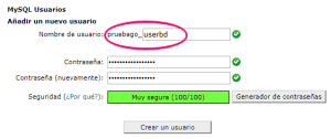Nuevo usuario para la base de datos creada en cPanel